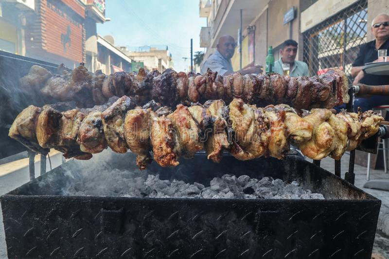 Cypriot traditional souvla, grill outdoors royalty free stock photography
