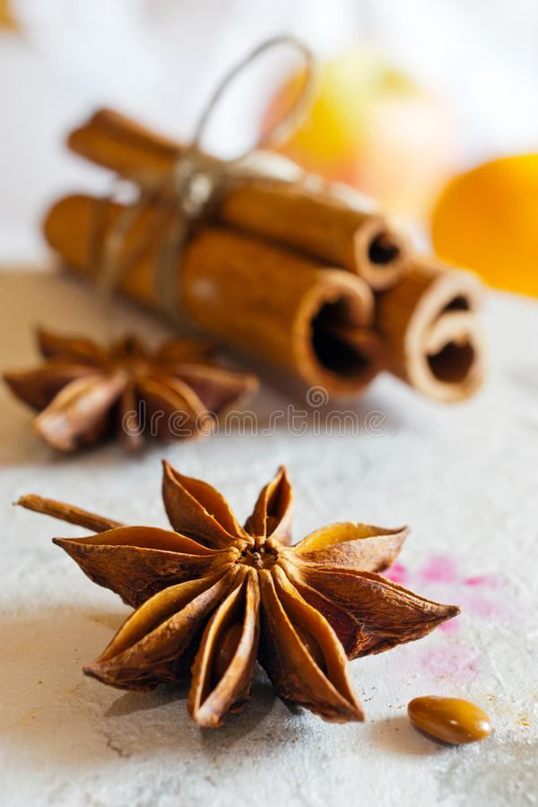 Traditional Czech christmas and advent time - spices star anise and cinnamon - ingredients prepared for sweets cooking or baking royalty free stock photos