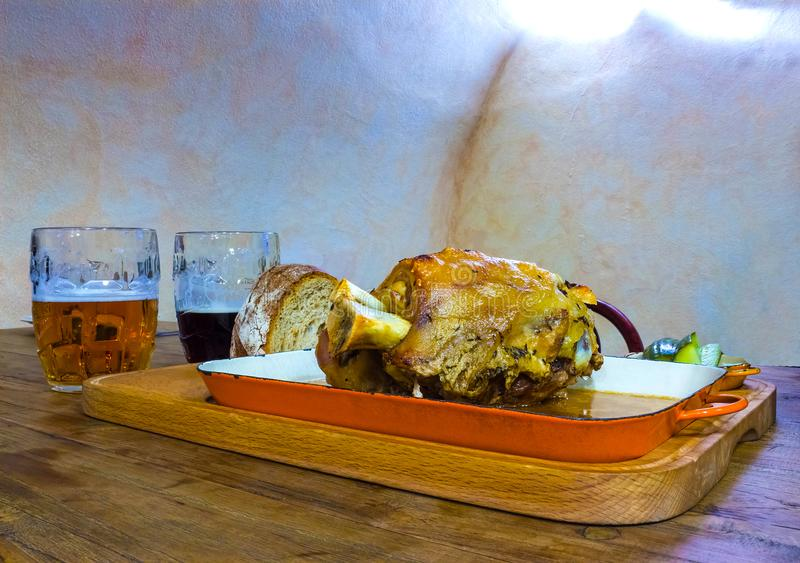 Traditional Czech dish Veprevo knee, roasted pork knuckle royalty free stock photos