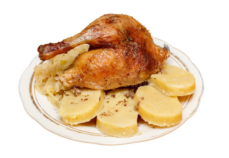 Traditional czech roasted duck with cabbage and du. Mplings on white stock photos
