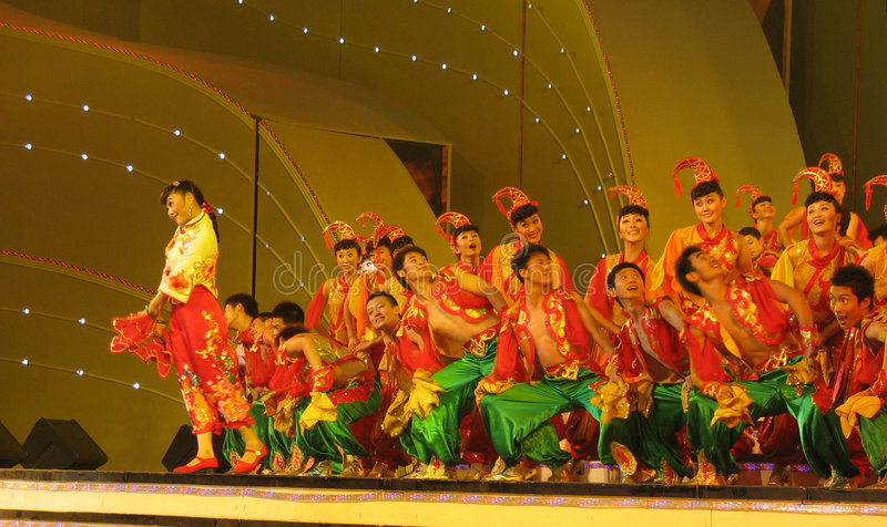Traditional dance in China stock photo