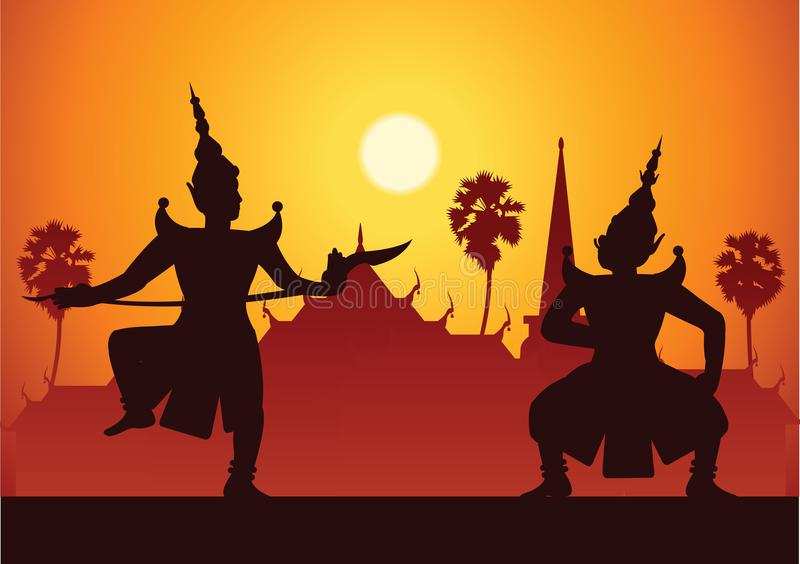 traditional dance drama art of Thai classical masked.Thai ancient literature performance,Ramayana,king ready to fight with king o royalty free illustration