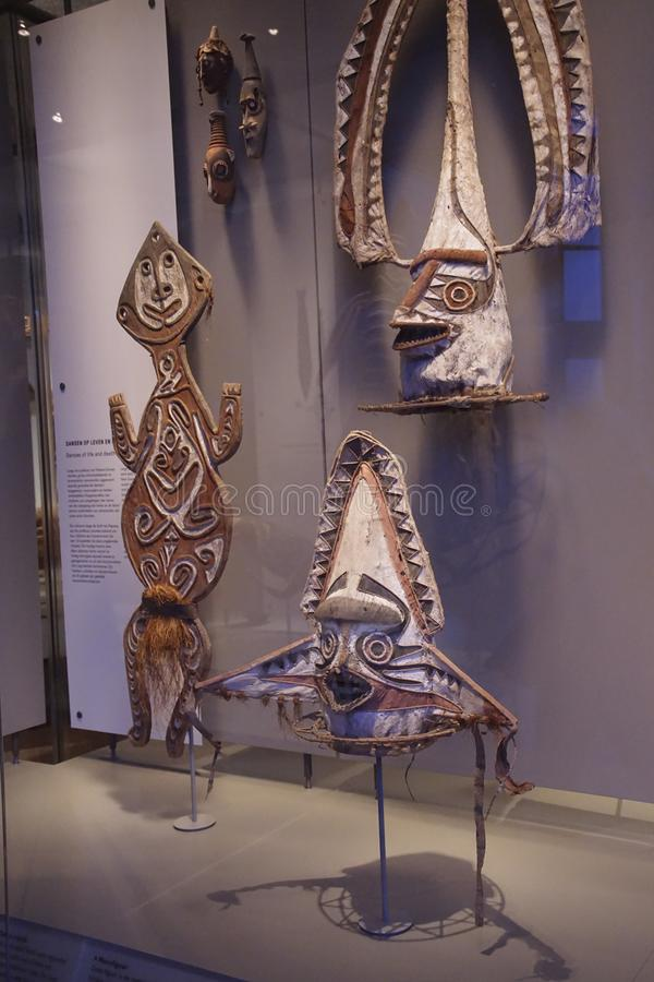 Traditional dance masks of Papua, New Guinea. AMSTERDAM, NETHERLANDS - DEC 12, 2018 - Traditional dance masks of Papua, New Guinea, Tropen Museum, Amsterdam royalty free stock image