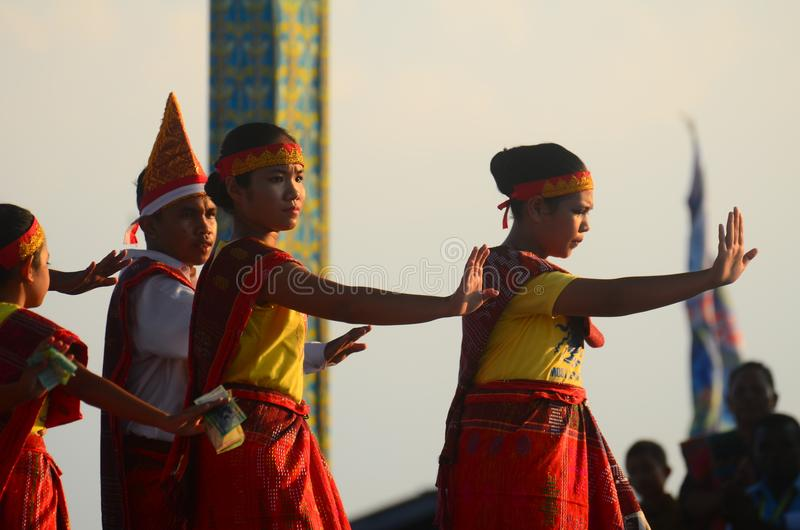 Traditional Dance from Medan Batak. This is a traditional dance from medan Batak Indonesia. This is perform when Sentani Lake Festival in Papua royalty free stock image