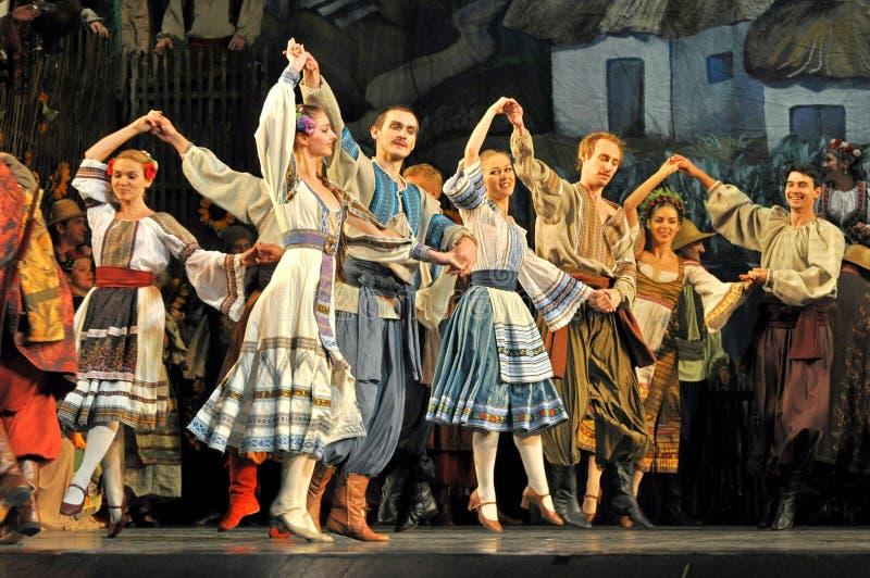 Traditional dance in national theeme opera Viy, Odessa, Ukraine stock image
