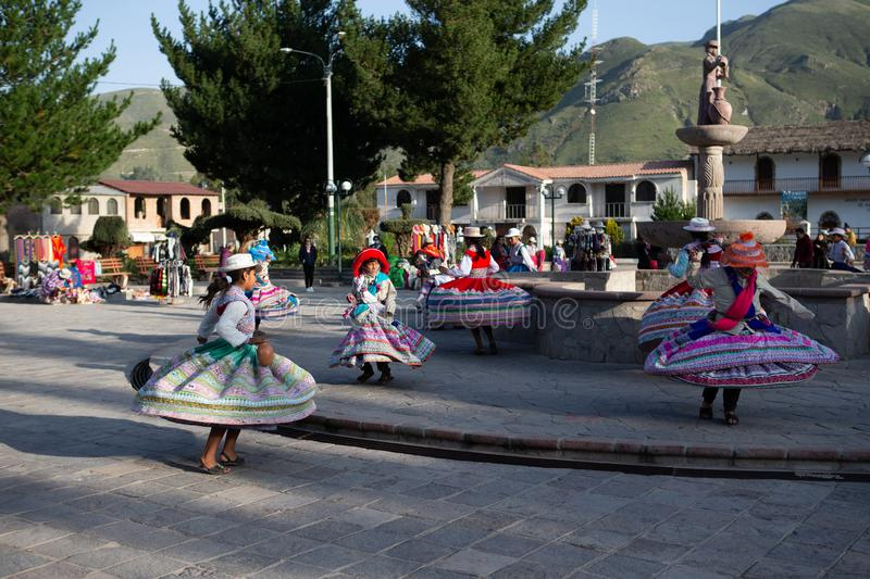Traditional dance of young peruvian girls in Yanque, Arequia, Peru on 21st of march 2019 stock photography