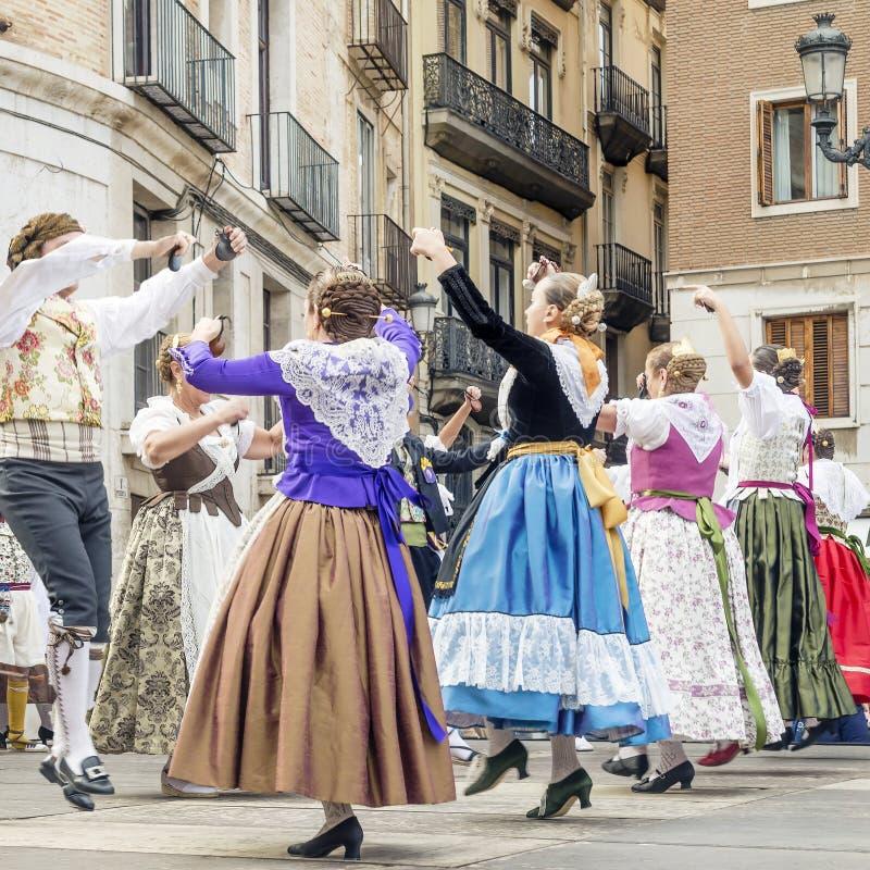 Traditional dancing in the Fallas Balls Al Carrer, Plaza de la Virgen, Valencia, Spain. Europe royalty free stock images