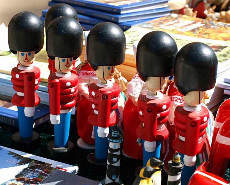 Traditional Danish toy soldiers. Traditional Danish wooden toy soldiers - queens guard royalty free stock photos