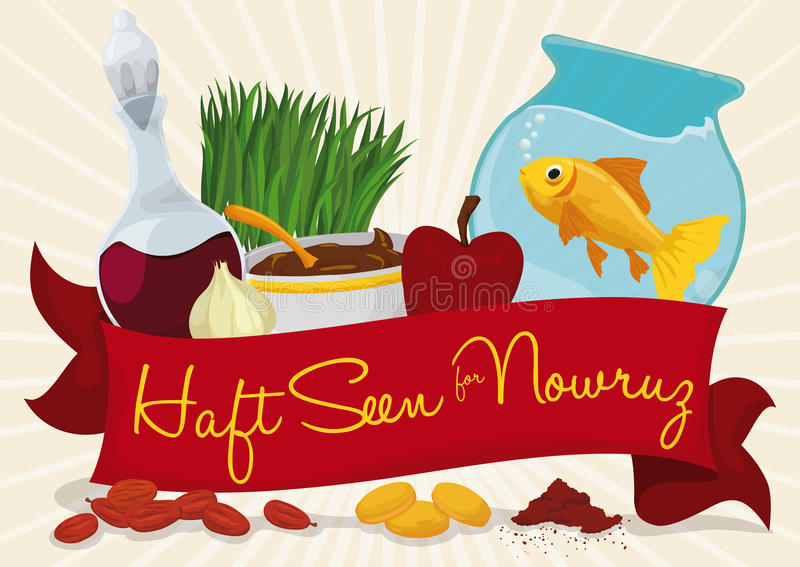 Traditional Decorative Elements for Haft-seen Tabletop in Nowruz, Vector Illustration. Design for Noruz with greeting ribbon and elements for Haft-seen table royalty free illustration