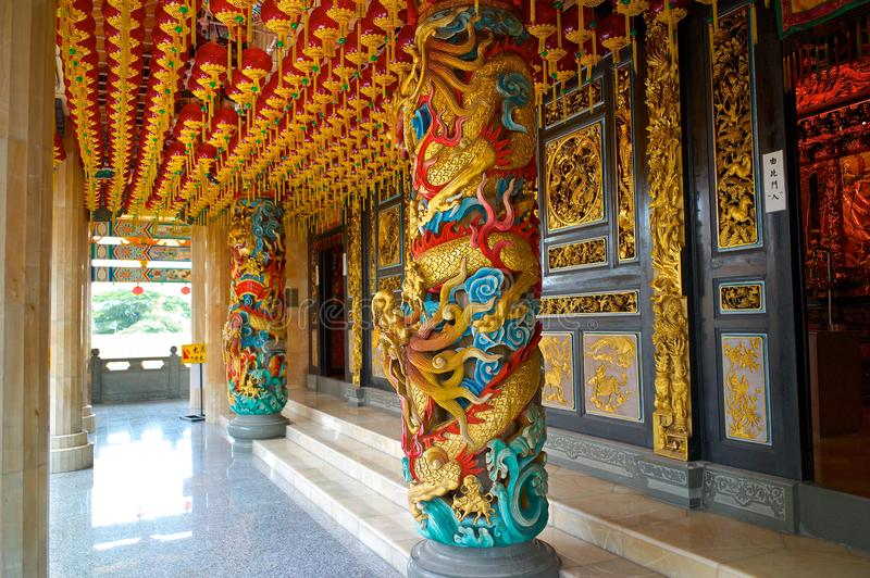 Pillars inside Chinese temple in Malaysia. royalty free stock photo