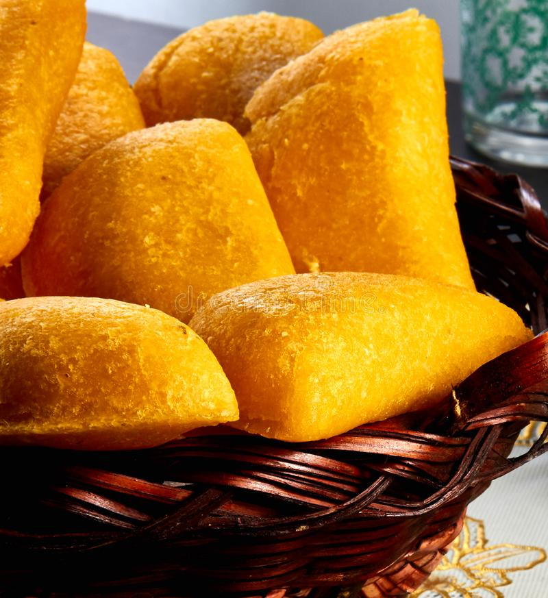Traditional and delicious Colombian empanadas. royalty free stock image