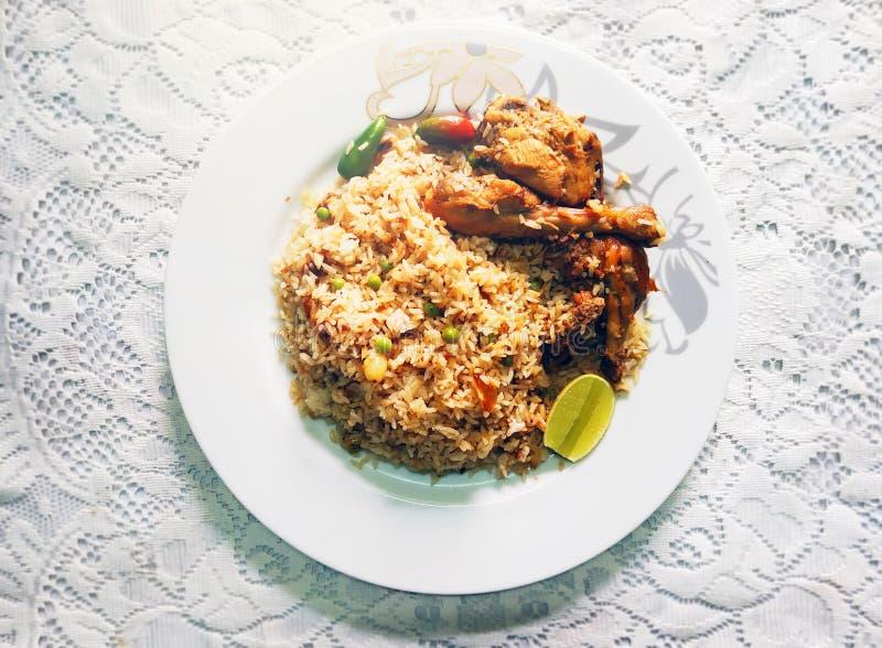 Traditional delicious food chicken Biryani. Photography of traditional delicious food in South Asia Biryani. It is chicken Biryani, famous Moglai spicy food royalty free stock image