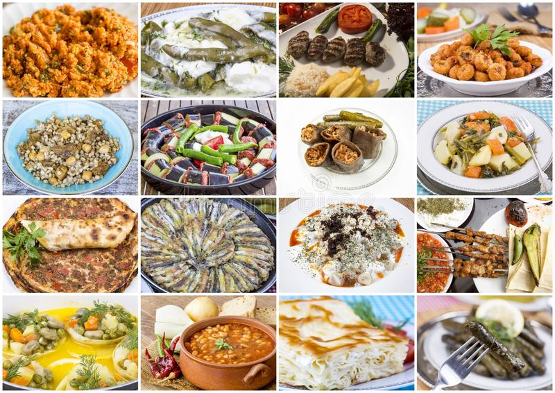Traditional delicious Turkish foods collage. Food concept photo.  stock photo