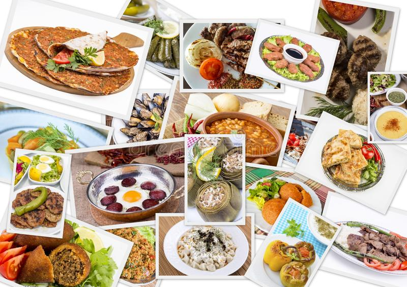 Traditional delicious Turkish foods collage. Food concept photo.  stock photography