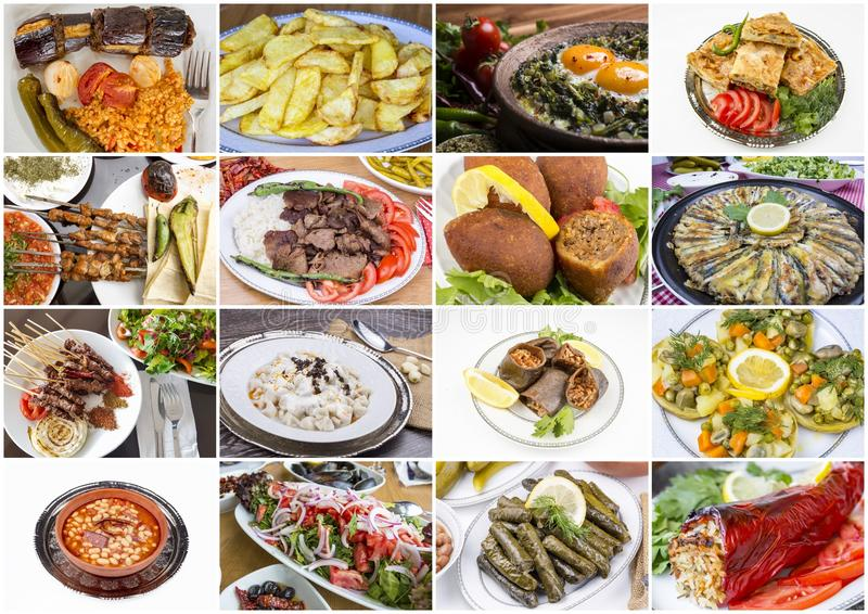 Traditional delicious Turkish foods collage. Food concept photo.  royalty free stock photography