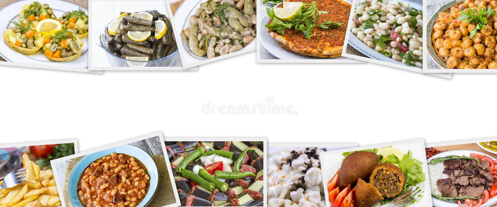 Traditional delicious Turkish foods collage. Food concept photo.  stock image