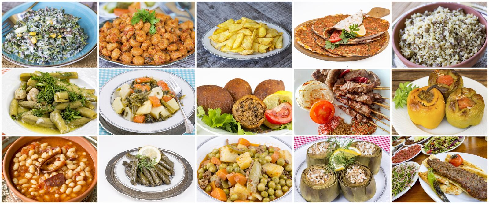 Traditional delicious Turkish foods collage. Food concept photo.  stock images