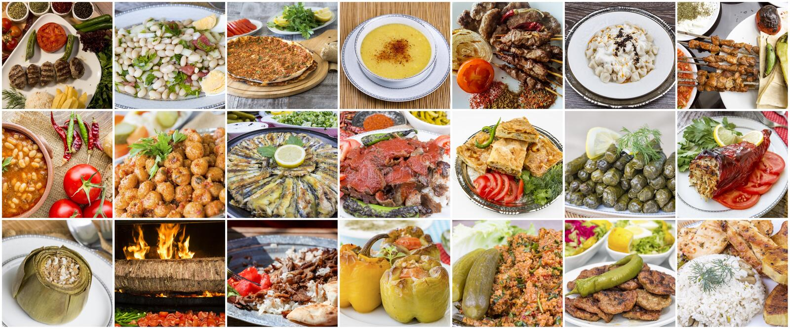 Traditional delicious Turkish foods collage. Food concept photo.  royalty free stock photo