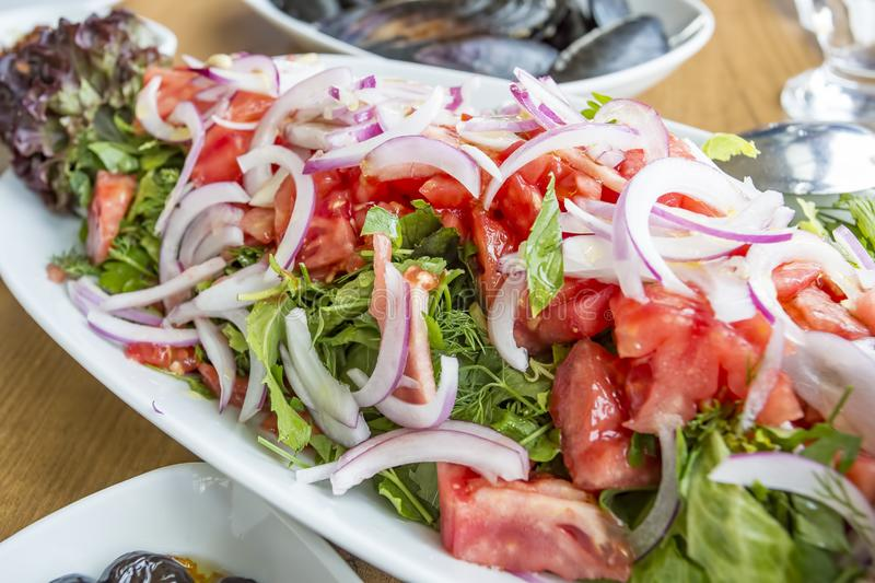 Traditional Delicious Turkish foods; diet coban salad.  royalty free stock photography