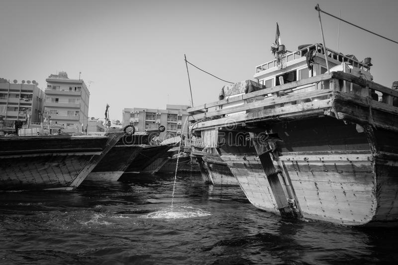 Traditional dhow ferry boats on the Dubai creek stock photo