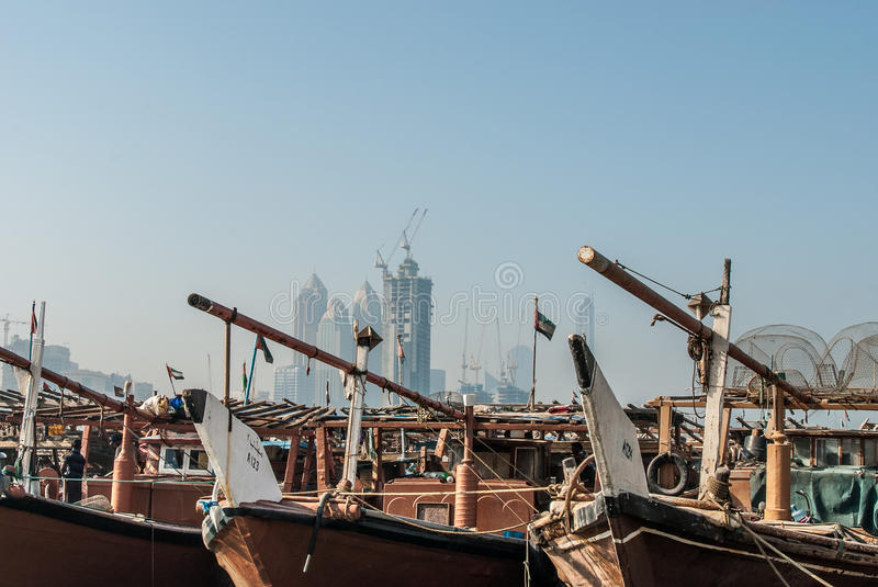 Traditional Dhows in Abu Dhabi. Working dhows in the harbour at Abu Dhabi, UAE stock images