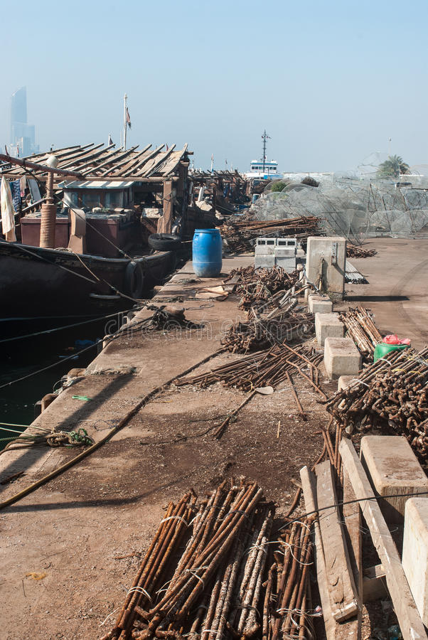 Traditional Dhows in Abu Dhabi. Working dhows in the harbour at Abu Dhabi, UAE royalty free stock photos