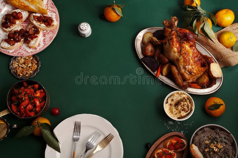 Traditional dinner with roasted chicken stock image