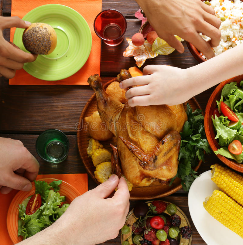 Traditional dishes for the holiday dinner Thanksgiving Day stock photography