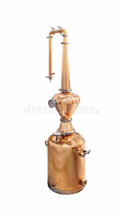 Traditional distiller tank made from copper production of alcohol, cognac, whiskey. Copper modern distiller for alcohol production. Isolated on a white stock image