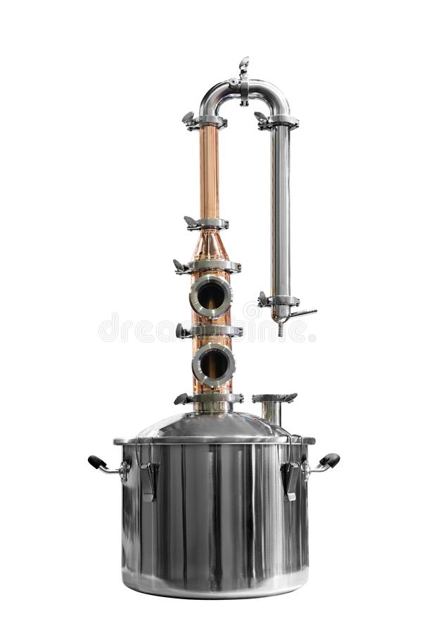 Traditional distiller tank made from copper production of alcohol, cognac, whiskey. Copper modern distiller for alcohol production isolated on a white stock photos