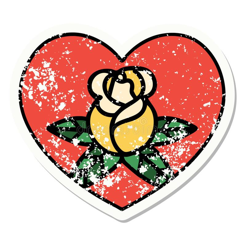 Traditional distressed sticker tattoo of a heart and flowers. Distressed sticker tattoo in traditional style of a heart and flowers vector illustration