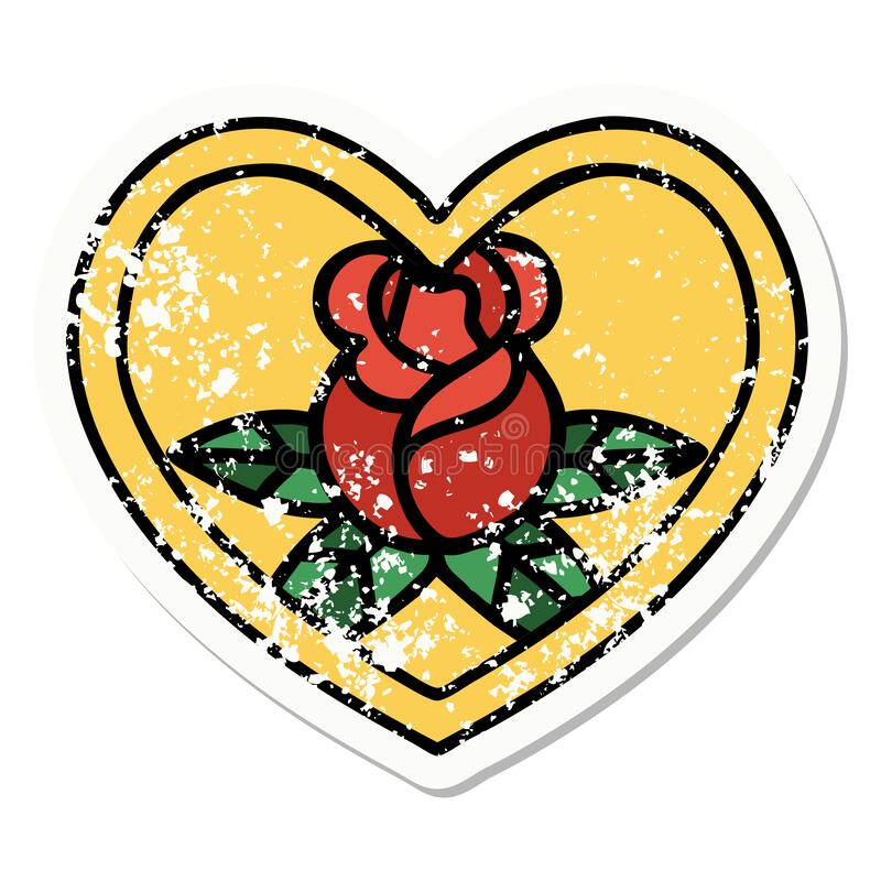Traditional distressed sticker tattoo of a heart and flowers. Distressed sticker tattoo in traditional style of a heart and flowers royalty free illustration