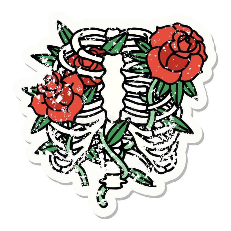 Traditional distressed sticker tattoo of a rib cage and flowers. Distressed sticker tattoo in traditional style of a rib cage and flowers royalty free illustration