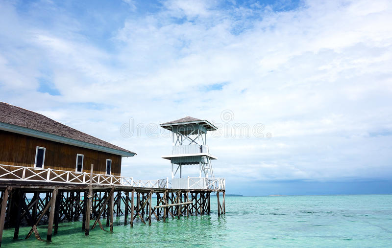 Traditional dock with watch tower. A photo of Traditional dock with watch tower taken at Derawan Island, East Kalimantan, Indonesia stock photos