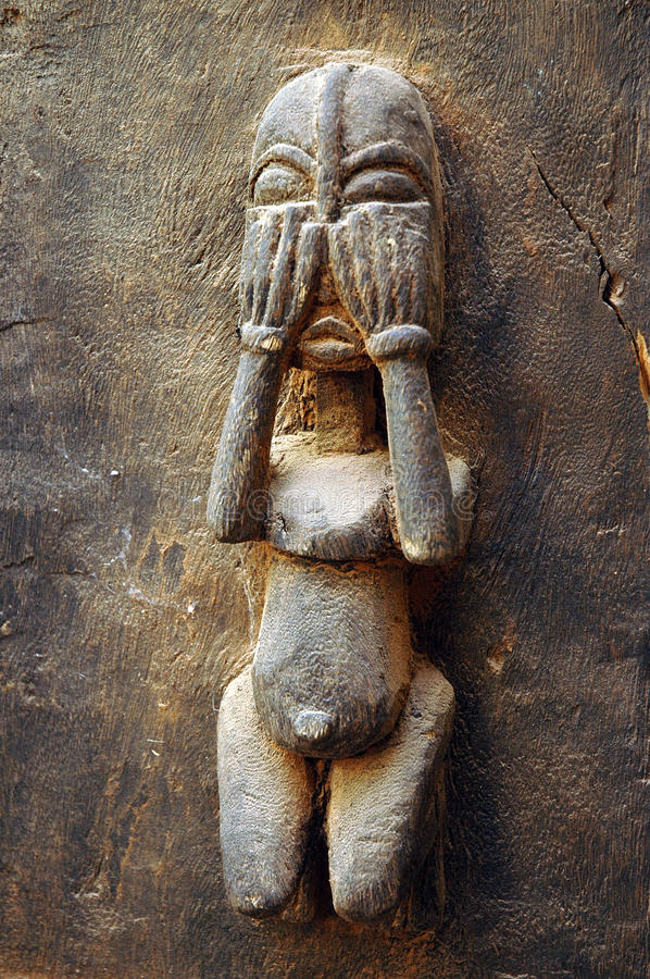 Free Traditional Dogon Carved Figure On A Door 2 Stock Image - 16877701