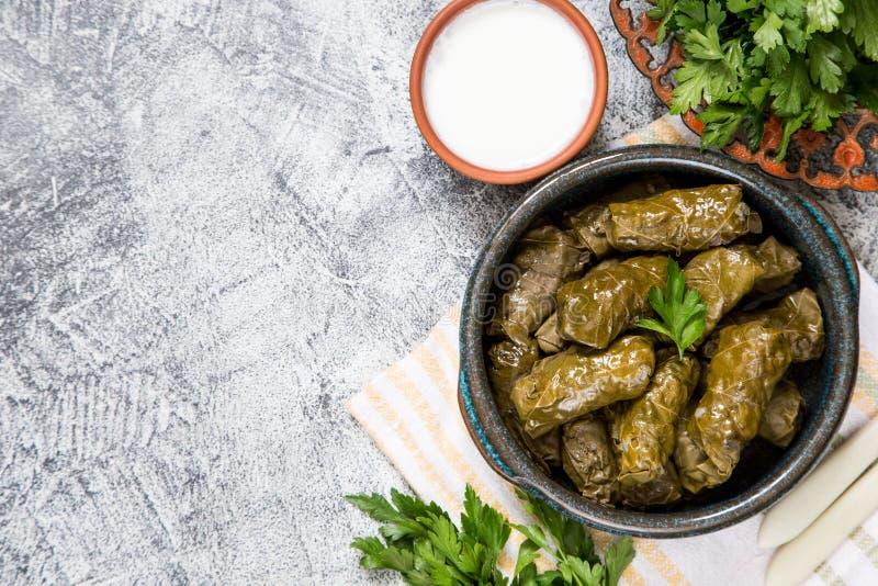 Traditional dolma  sarma in grape leaves with copyspace. Lebanon turkish greek middle eastern cuisine. Dinner food dolmadakia royalty free stock image