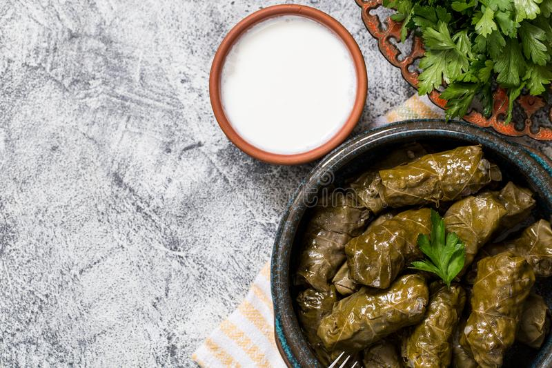 Traditional dolma  sarma in grape leaves with copyspace. Lebanon turkish greek middle eastern cuisine. Dinner food dolmadakia. Traditional dolma  sarma in grape royalty free stock photo
