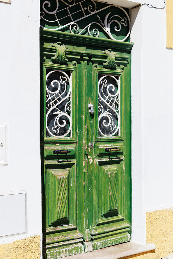 Traditional Door In Mertola Portugal. Colors Of Portugal Series Stock Photo - Image of closed