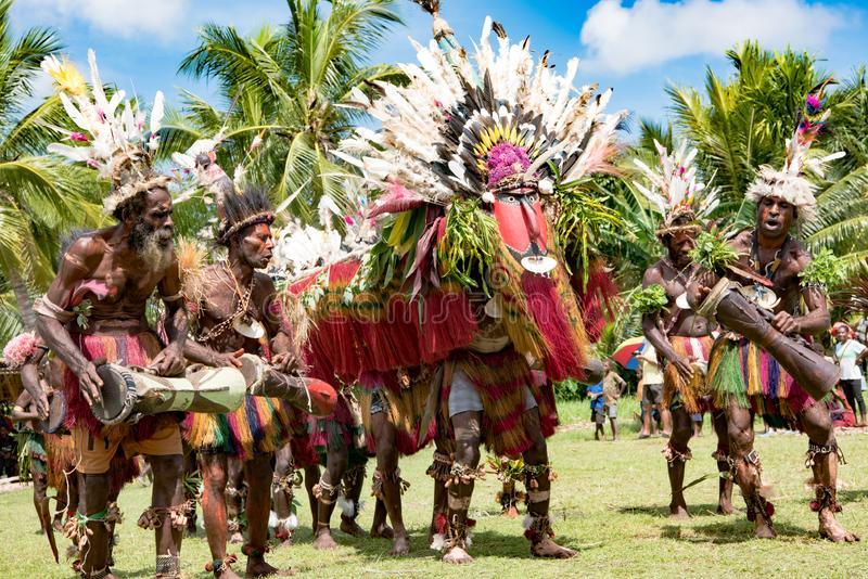 Impressive dragon dance ceremony,Kopar village, Sepik River, Papua New Guinea. Traditional dragon dance celebration in New Guinea on Sepik River royalty free stock photography