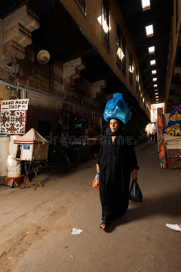 Traditional Dress Egyptian Woman Carrying Head royalty free stock photos