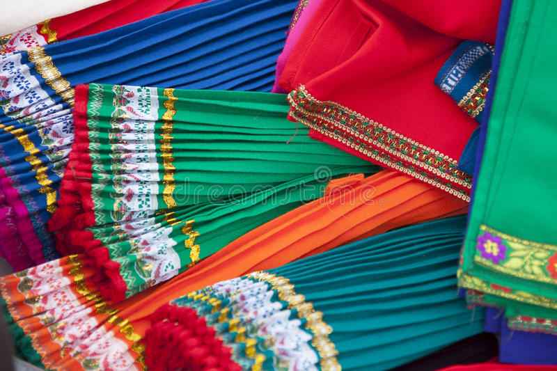 Traditional dresses Cotopaxi. Traditional dresses of the province of Cotopaxi, Ecuador, for sale on the market royalty free stock image