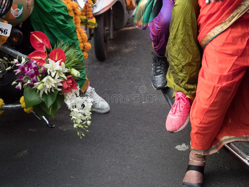 Traditional dresses worn by the ladies to welcome HINDU new year royalty free stock photo