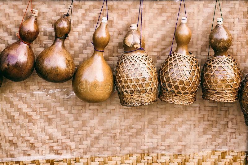 Traditional dried bottle gourd. Dried bottle gourd used for traditional canteen for drinking water stock photography