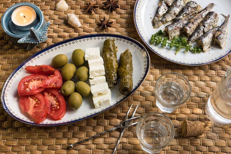 Traditional drink Ouzo or Raki royalty free stock image