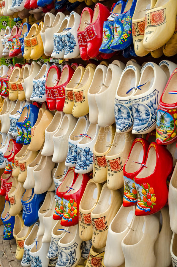 Traditional Dutch clogs wooden shoes in souvenir store Amsterdam stock images