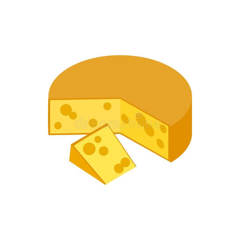 Traditional Dutch Gouda cheese icon vector illustration