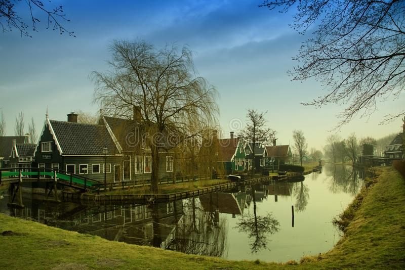 Traditional dutch houses of Zaanse Schans, Zaandam stock photos