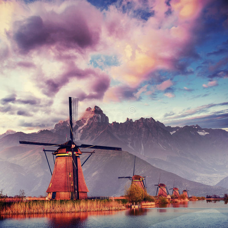 Traditional Dutch windmills from the channel Rotterdam. Holland.  stock photography
