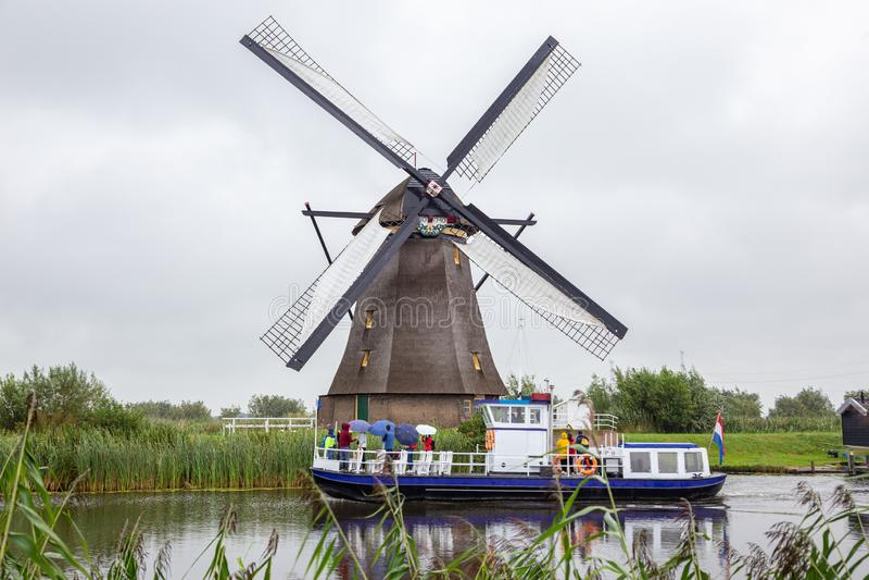The traditional Dutch windmills of Kinderdijk royalty free stock photo