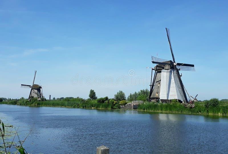 Traditional Dutch windmills at Kinderdijk, Holland. Beautiful landscape with green grass and traditional Dutch windmills on the shore of a river in Kinderdijk stock photo